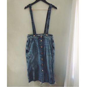 BRAND NEW! Zara overall denim midi skirt size M.